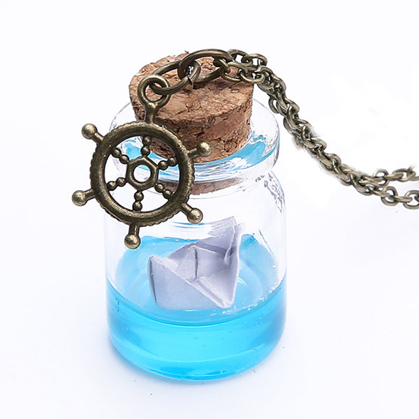 Paper Boat in a Bottle Necklace - Perfect for Homesick Mermaids!
