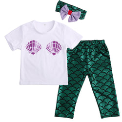 3 pc Set - Babies Clamshell T-shirt, Mermaid Leggings and Head Band, FREE SHIPPING
