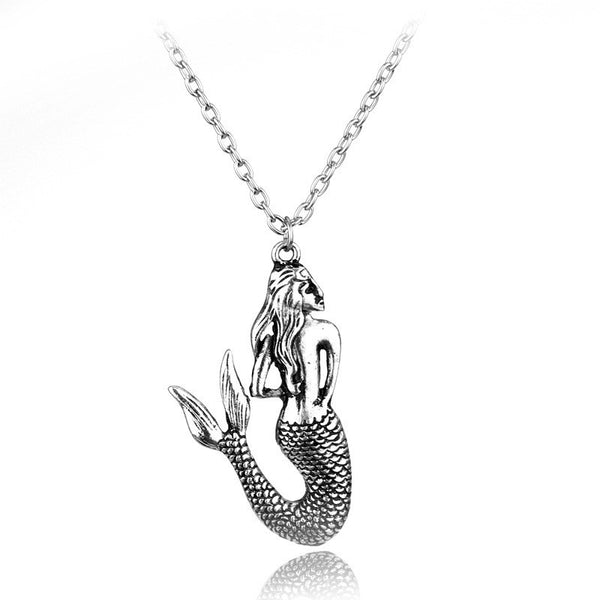 Long Bohemian Mermaid Necklace, Silver or Bronze