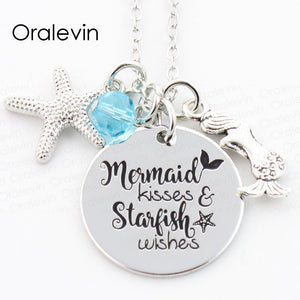 MERMAID KISSES AND STARFISH WISHES Engraved Disc Pendant Charms Necklace