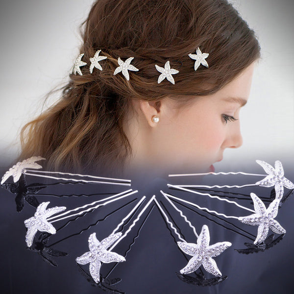 Silvery Starfish Hair Pins x6
