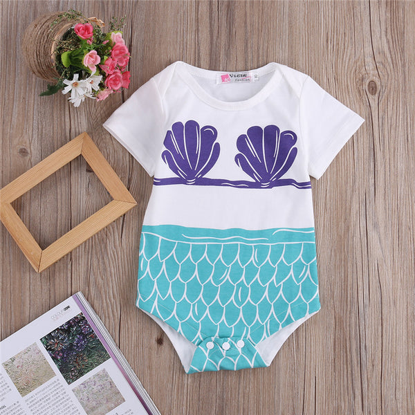Mermaid Onesie with Purple Clamshell Bra and Scales Print