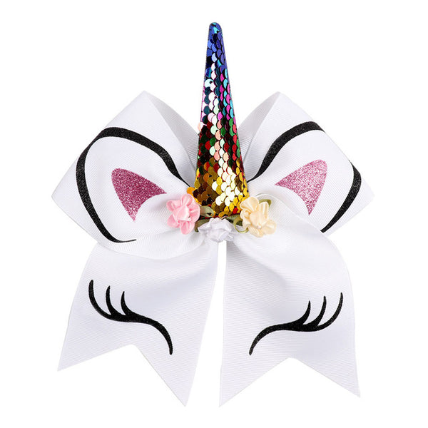 "8"" Unicorn Bow Ponytail Elastic with Sequin Horn"