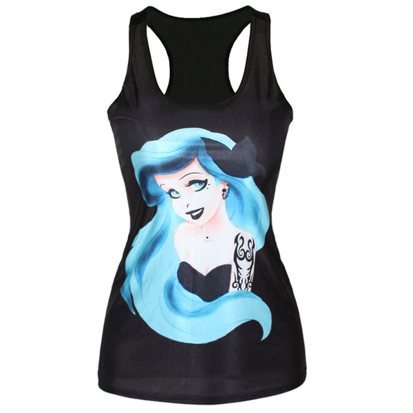 Black Goth Punk Tattooed Mermaid Tank - $10 OFF!