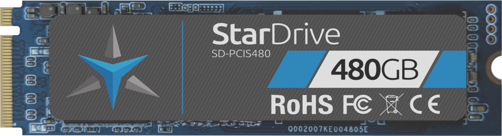 Star Drive PCIe SSD showing label with 480GB capacity