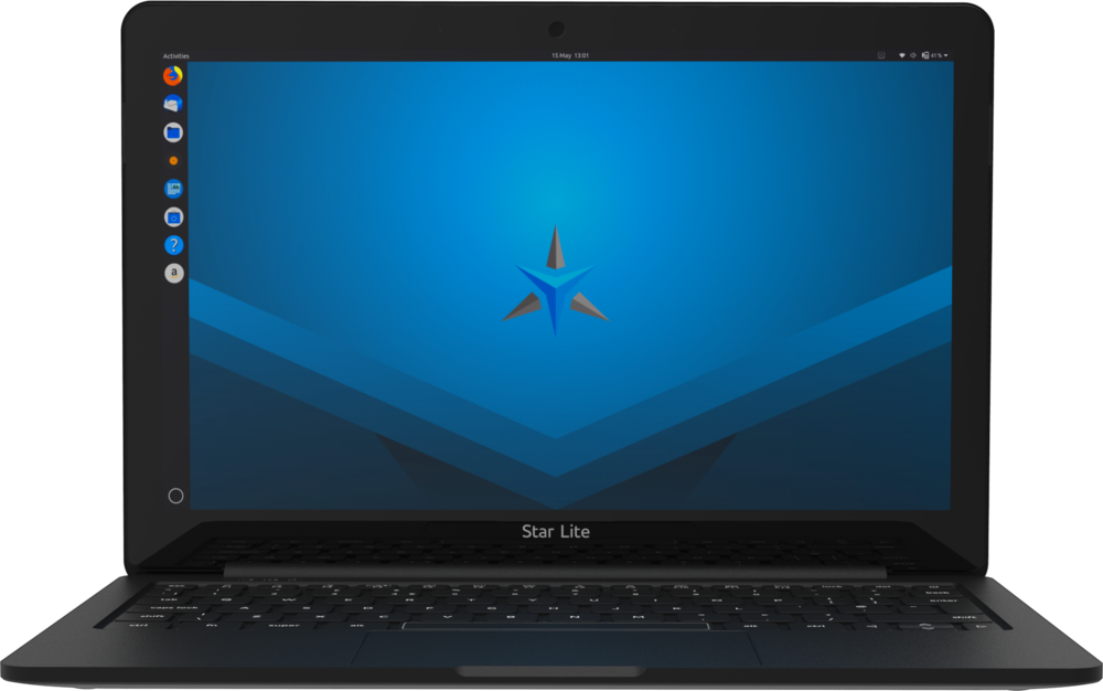 Star Lite Mk II Linux laptop computer open running pre-installed Linux distribution