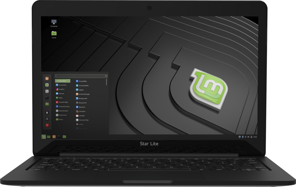 Star Lite Mk II Linux laptop with Hybrid display computer open running pre-installed Linux Mint