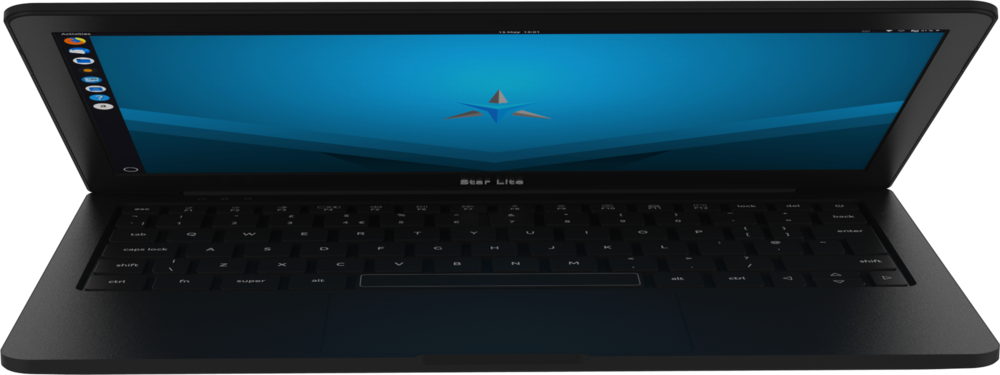 Star Lite Mk II Linux laptop computer lid slightly open showing the keyboard and full HD IPS screen