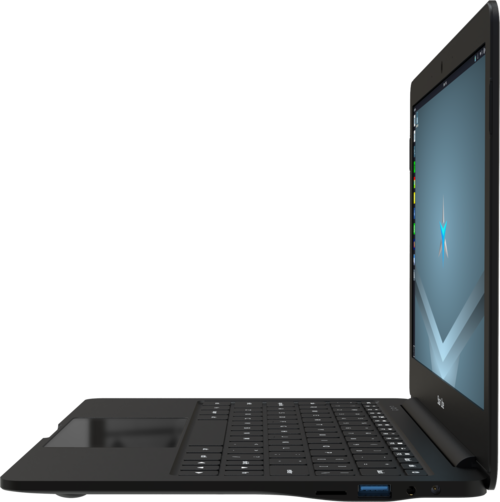 Star Lite Mk II Linux laptop computer closed showing laser etched serial number and product name