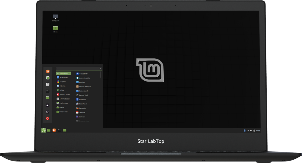 Star LabTop Mk III Linux laptop computer opening to show Linux Mint running
