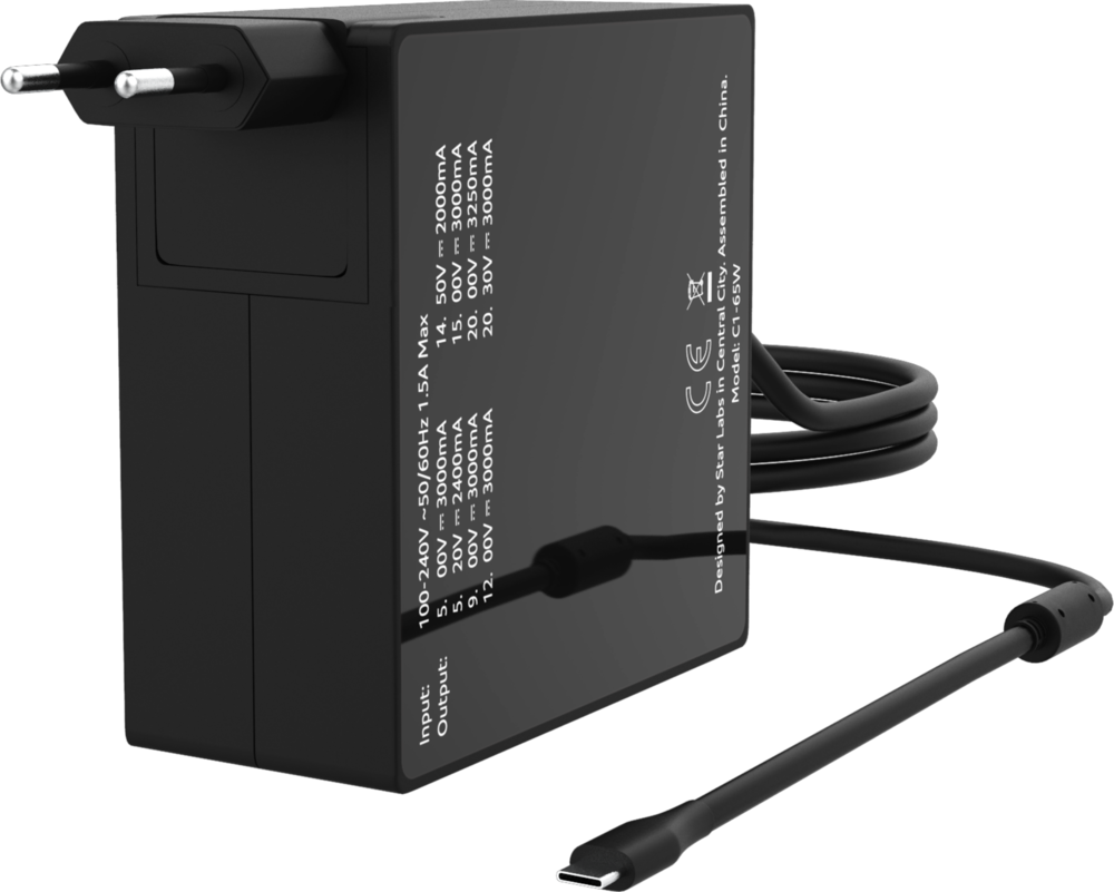 65w USB-C wall charger with EU plug attached