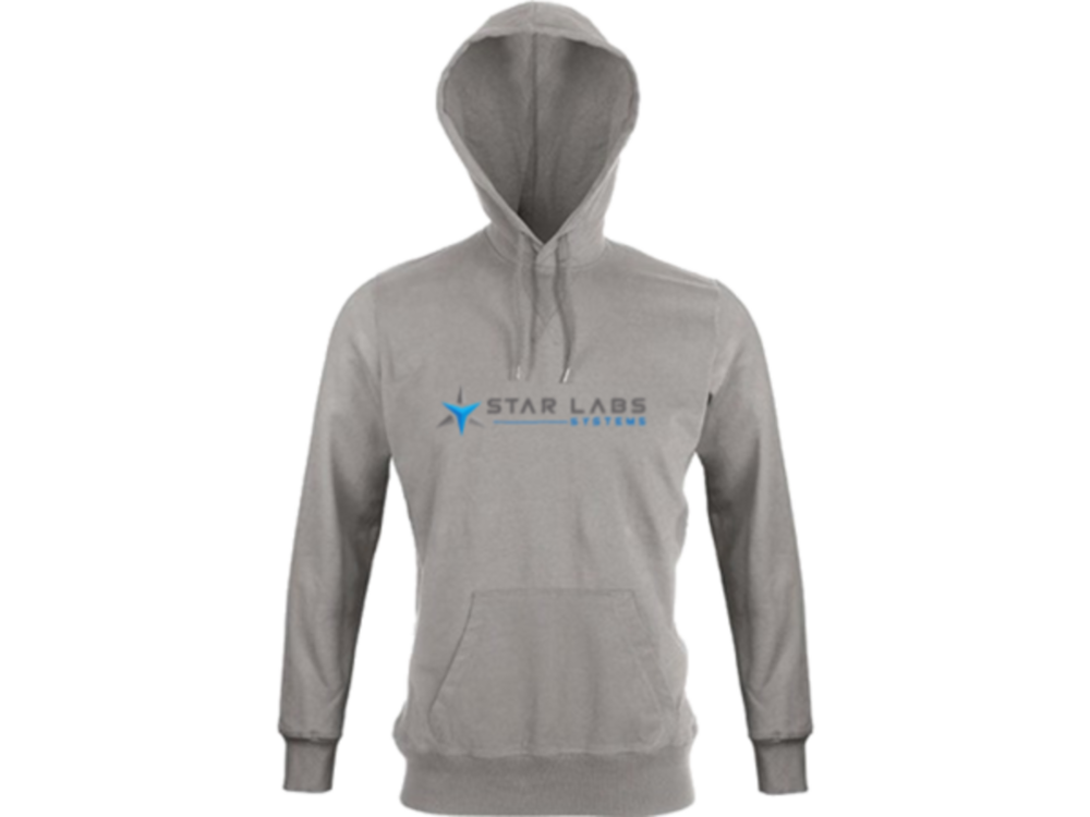 Star Labs Vintage Hooded Sweatshirt showing front with logo,hood and full length arms in Vintage Grey