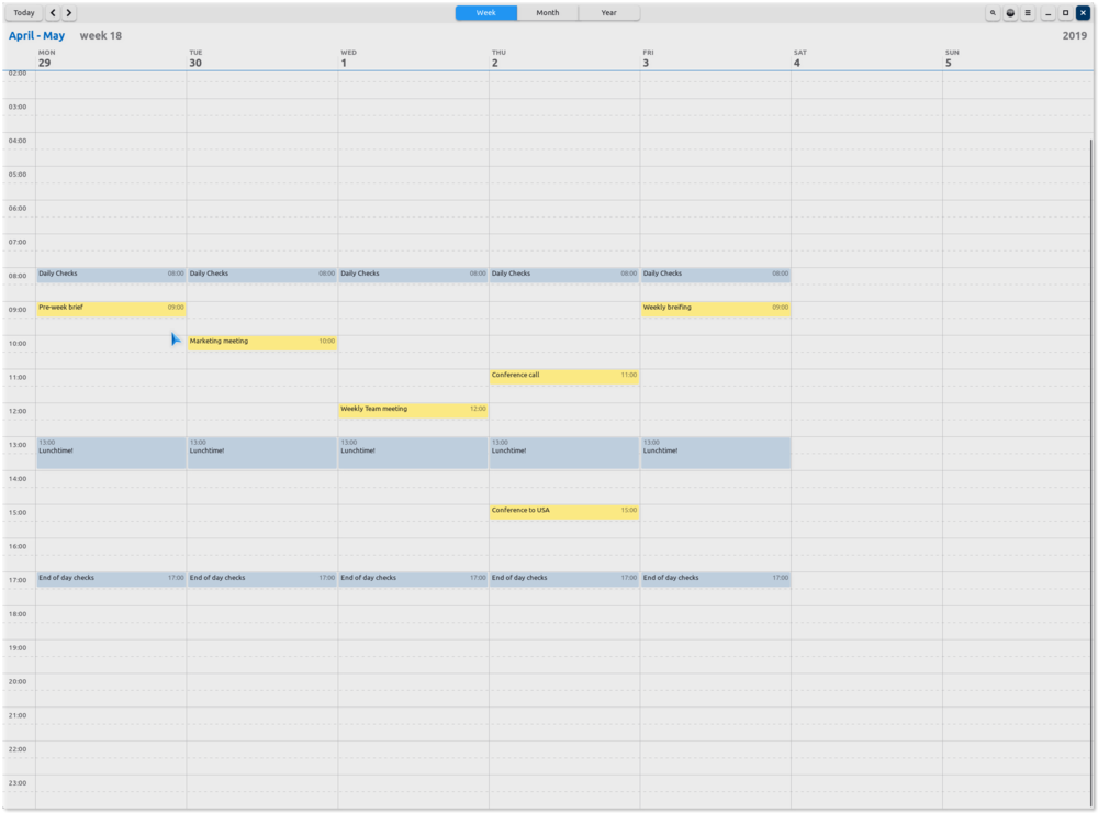 GNOME Calendar showing diary entries for April 2019