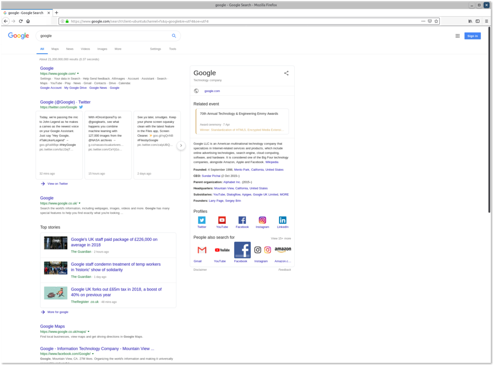 Mozilla Firebox web-browser search for google on google search