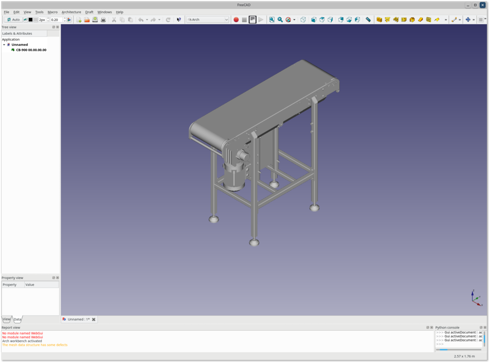 FreeCAD application showing a 3D drawing