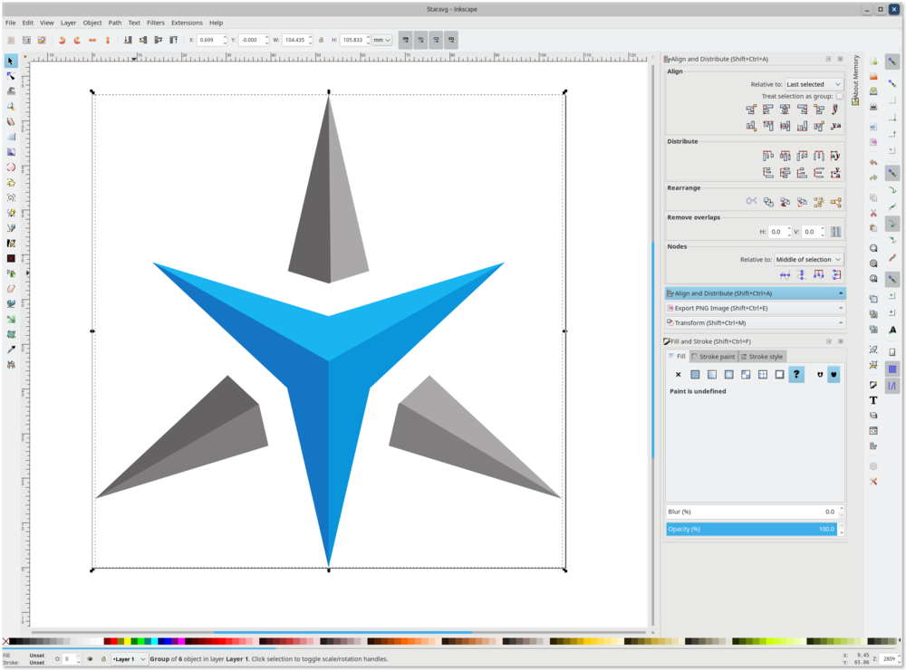 Inkscape editing Star Labs Logo SVG file