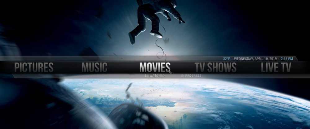 KODI media center main menu using the Aeon Nox theme