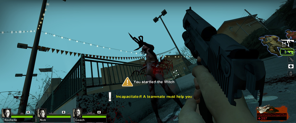 Left 4 Dead 2 showing the team battling a Witch