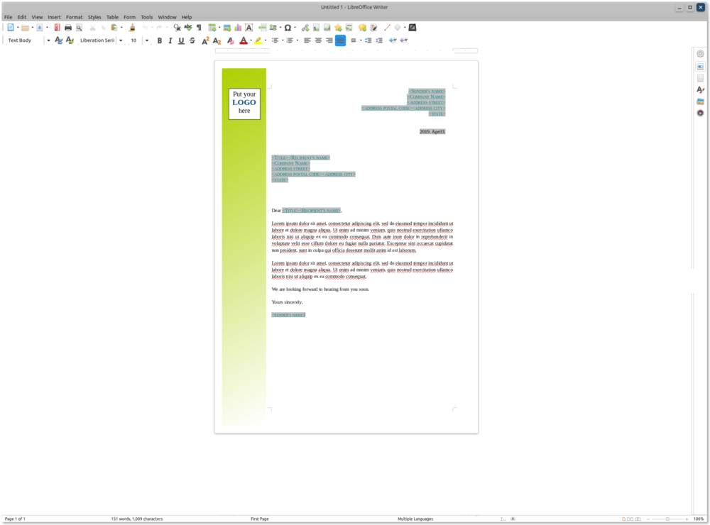 LibreOffice Writer with a template for a letter being edited