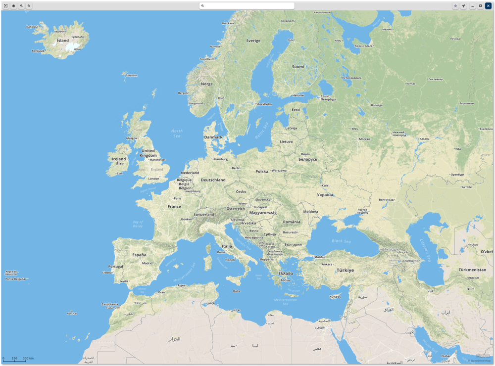 GNOME Maps showing Europe, some of the Middle East and North Africa