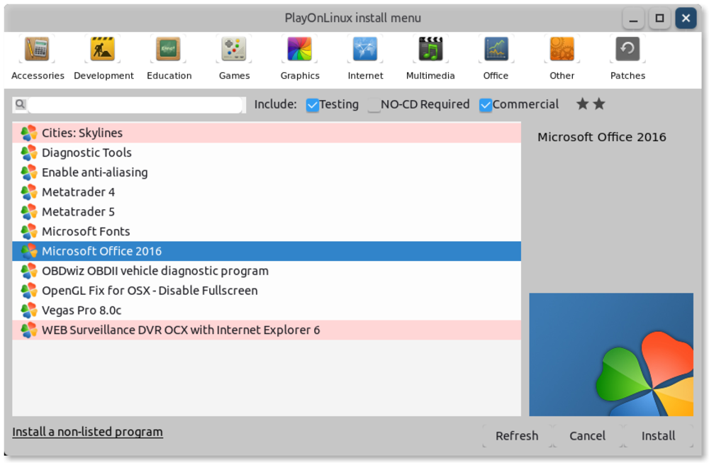 PlayOnLinux install menu showing option to install Microsoft Office 2016