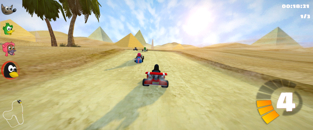 Super Tux Kart in game action with Tux in a kart