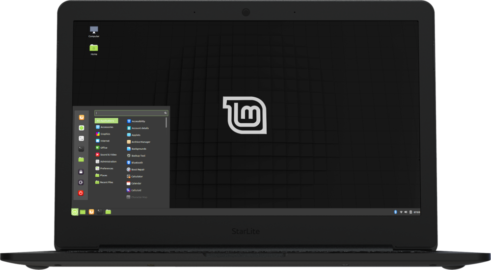 Star Lite Mk II Linux laptop computer opening to show Linux Mint running