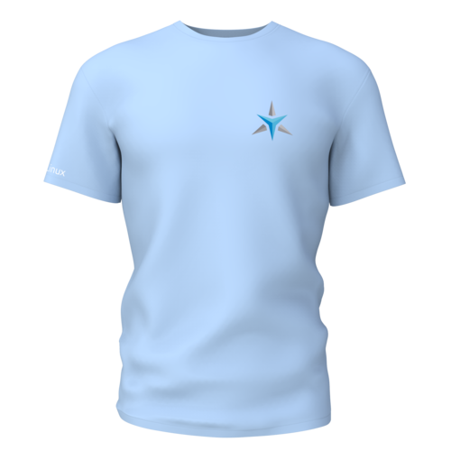 Star Labs Stretch T-Shirt showing front with logo in Stone Blue