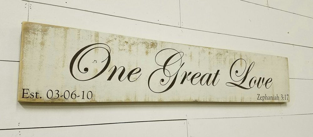 One Great Love (Custom Wedding Sign)