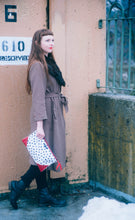 Leather Corner Polka Dot Clutch
