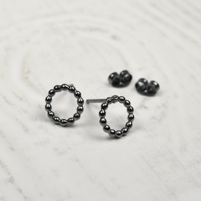 Black Silver Bubble Circle Earrings