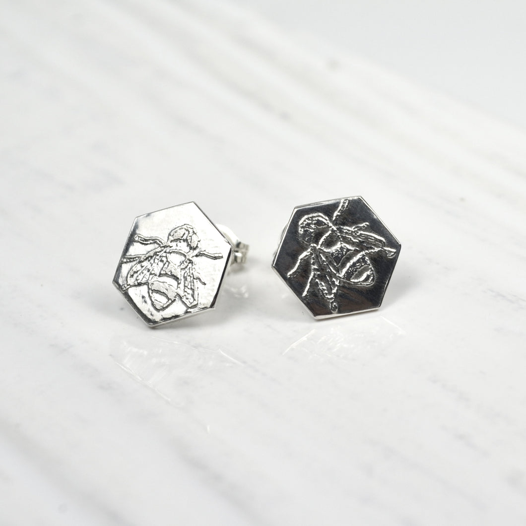 Honeycomb Bee Studs