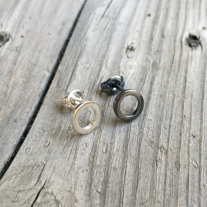 Black & Silver Circle Earrings