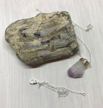 Sterling Silver Wrapped Stone Necklace
