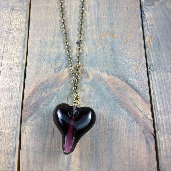 Glass Purple Heart Necklace