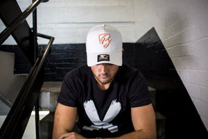 White/Peach Trucker Snapback
