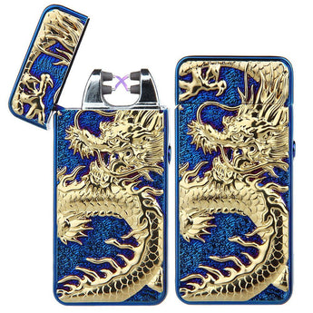New Dragon Embossed Double Arc Cigarette Lighter - 99 Thrift $hop