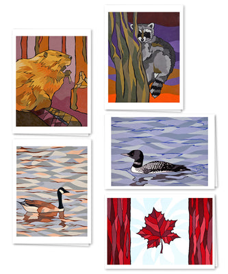 Canadian Animals Mixed Card Pack of Five