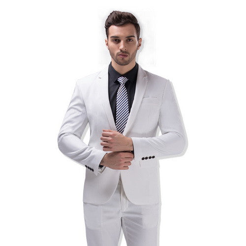 Desirable Time Men Green Party Suit Slim Fit New Fashion Purple And White Wedding