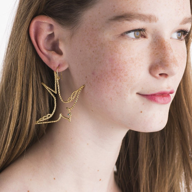 Songbird Earrings in Gold