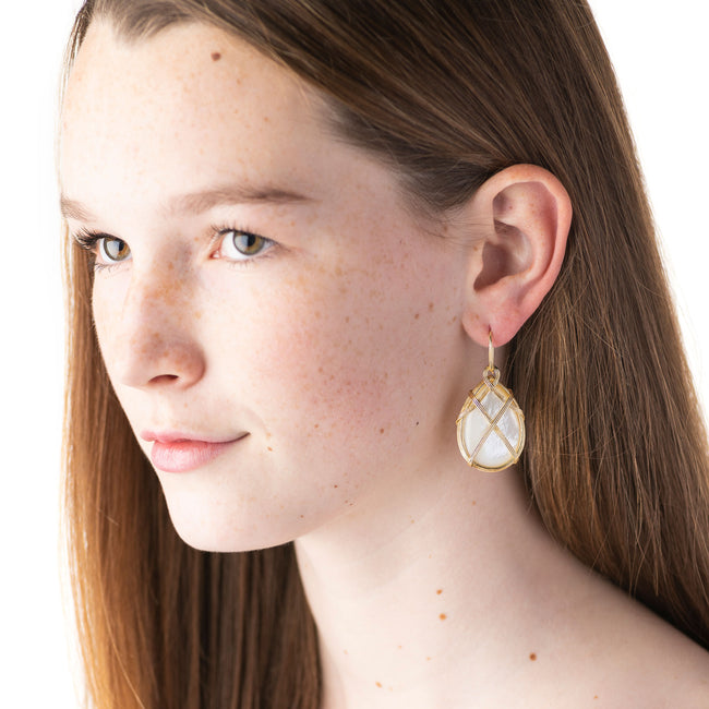 Ocean Goddess Mother of Pearl Drop Earrings