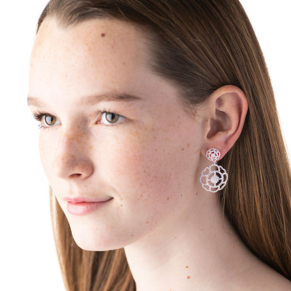 Capucine Double Earrings, Silver