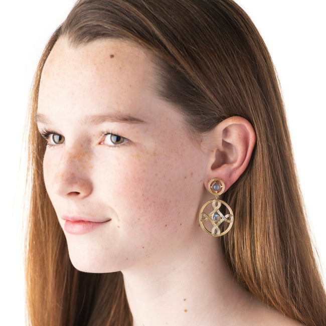 Monique Double Earrings, Iridescent Gray