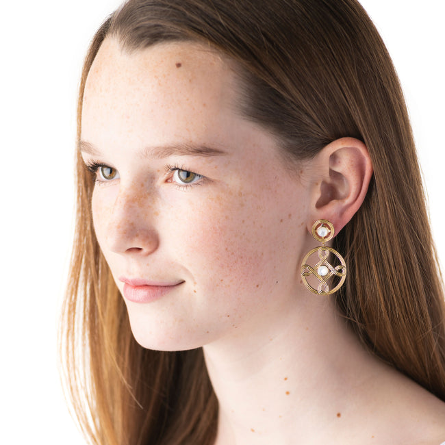 Monique Double Earrings, Mother of Pearl