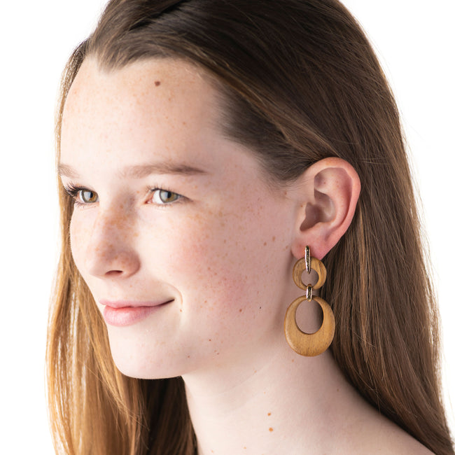 Earth Goddess Teak Double Front Hoop Earrings