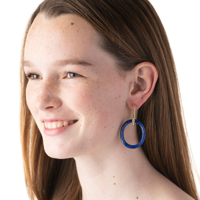 Earth Goddess Lapis Link Earrings