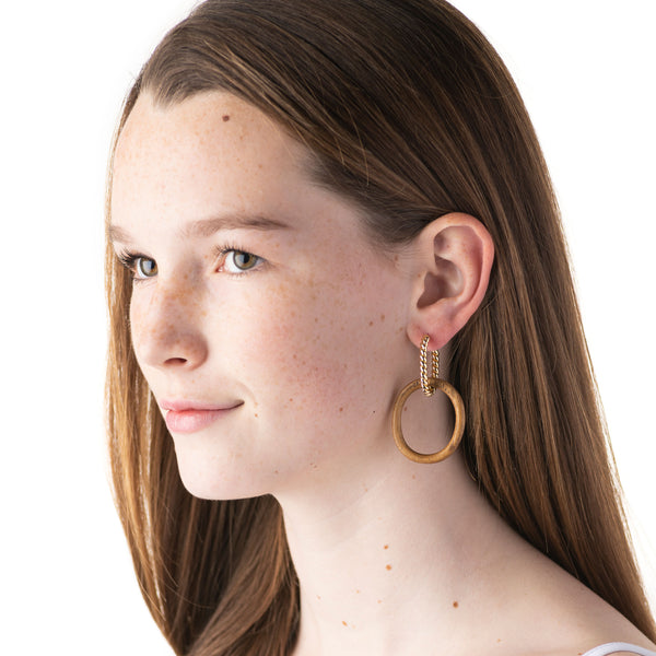 Earth Goddess Link Earrings, Teak