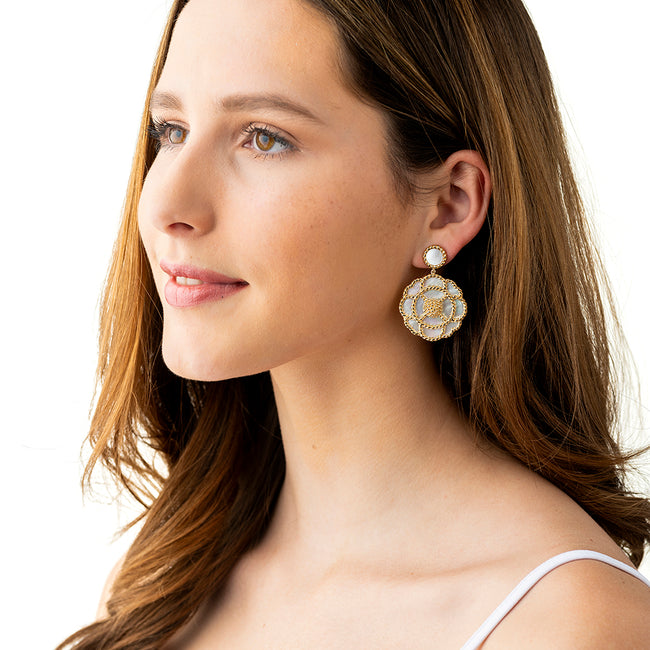 Grande Capucine Earrings, Mother of Pearl