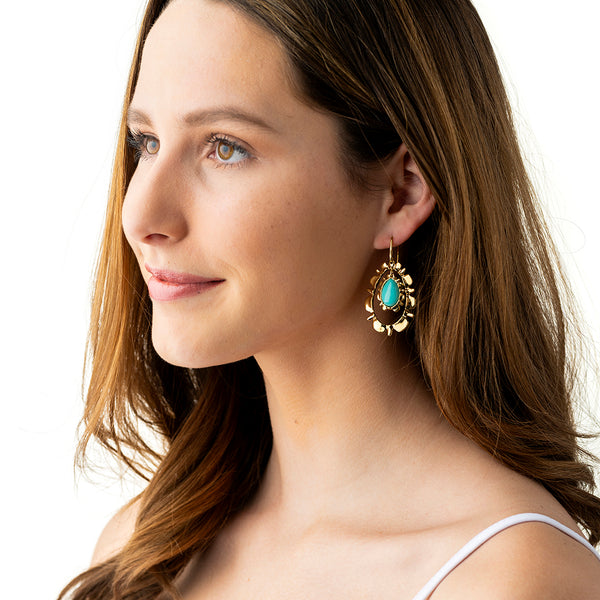 Bliss Ruffle Drop Earrings, Floating Turquoise