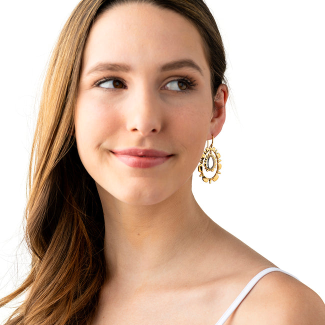 Bliss Ruffle Drop Earrings, Clear Quartz